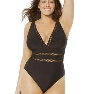 Swimsuits for All Lattice Plunge Swimsuit 24